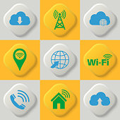 Set of nine icons of a wireless communication, wifi, cloud storage, network. Wi-Fi connection. Cloud service. Button. Vector element of graphic design