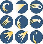 Set of nine illustrations of shooting stars inside circles