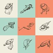 Set of nine illustrations with building tools