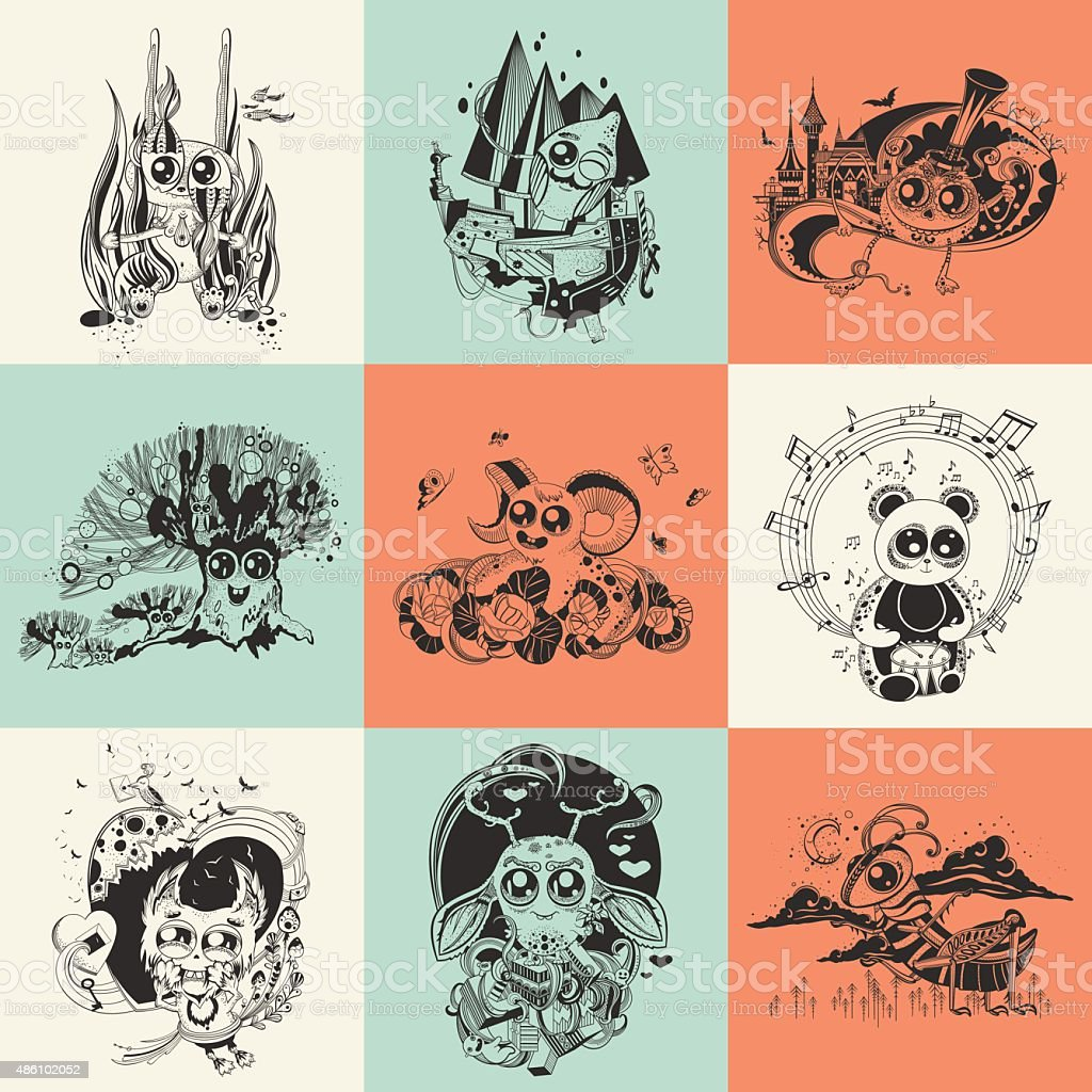Set of nine illustrations with hand drawn fantastic creatures cartoonish vector art illustration