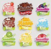 Juice, Smoothie, Fresh, Labels, Splash, Symbols, Signs, Chocolate, Banana, Strawberry, Milk, Honey