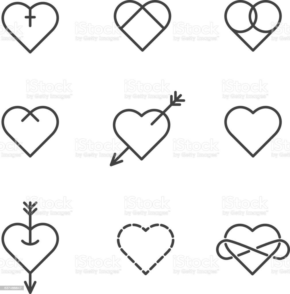 Ilustracin de Conjunto De Nueve De Corazones De Tatuaje Estilo