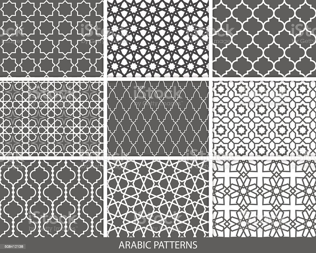 Set of nine monochrome Arabic patterns vector art illustration