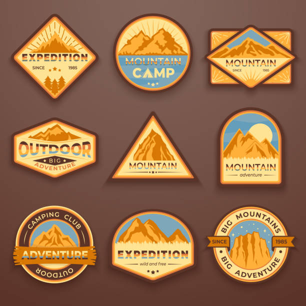 Set of nine mountain travel emblems. Camping outdoor adventure emblems, badges and logo patches. Mountain tourism, hiking. Forest camp labels in vintage style Set of nine mountain travel emblems. Camping outdoor adventure emblems, badges and logo patches. Mountain tourism, hiking. Forest camp vector labels in vintage style wilderness stock illustrations