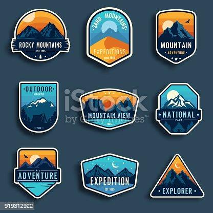 Set of nine mountain travel emblems.