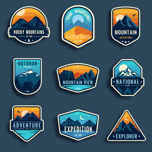 Set of nine mountain travel emblems. Set of nine mountain travel emblems. Camping outdoor adventure emblems, badges and icons patches. Mountain tourism, hiking. Forest camp vector labels in vintage style mountain top stock illustrations
