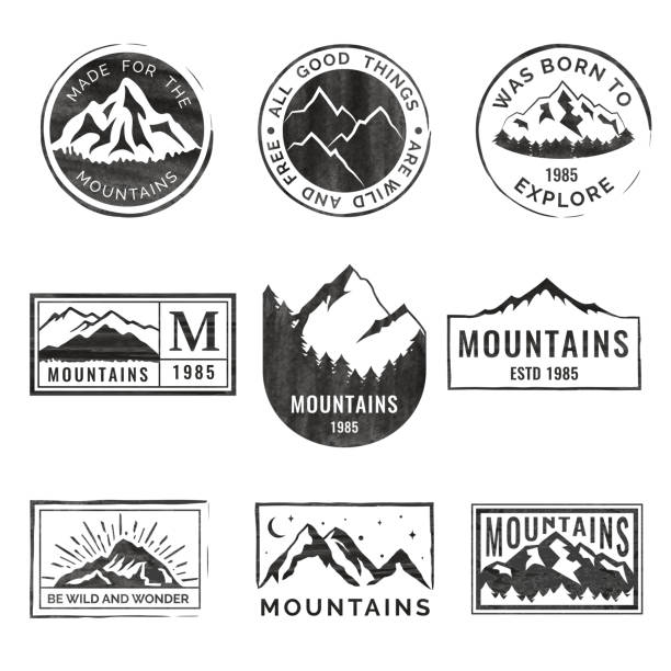 Set of nine mountain travel emblems with grunge texture. Camping outdoor adventure emblems, badges and  patches. Mountain tourism, hiking. Forest camp labels in vintage style Set of nine mountain travel emblems with grunge texture. Camping outdoor adventure vector emblems, badges and  patches. Mountain tourism, hiking. Forest camp labels in vintage style mountains stock illustrations