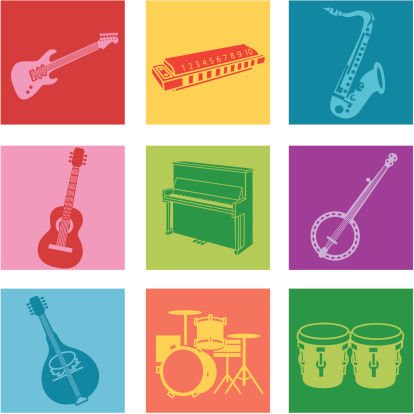 A set of nine multicolored popular music icons