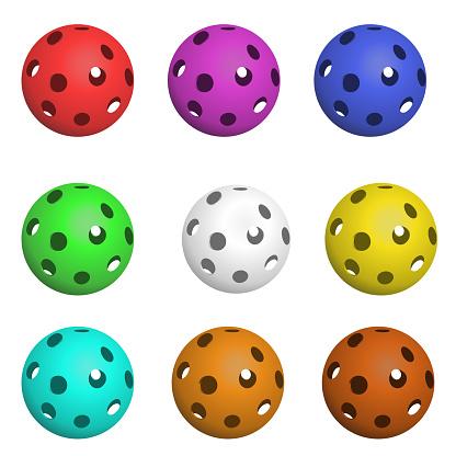 Set of nine pickleball balls