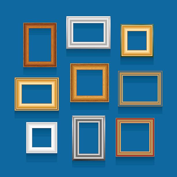vektor-set mit bilderrahmen. - palettenbilderrahmen stock-grafiken, -clipart, -cartoons und -symbole