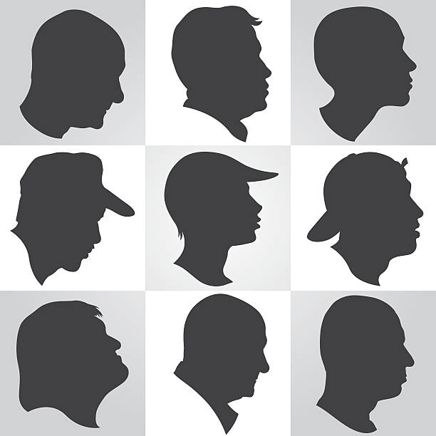 set of nine profiles of men in silhouette - old man face silhouettes stock illustrations, clip art, cartoons, & icons