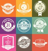 Set of high detail design elements (Retro vintage badges and labels, light series on colorfull background) vector illustration
