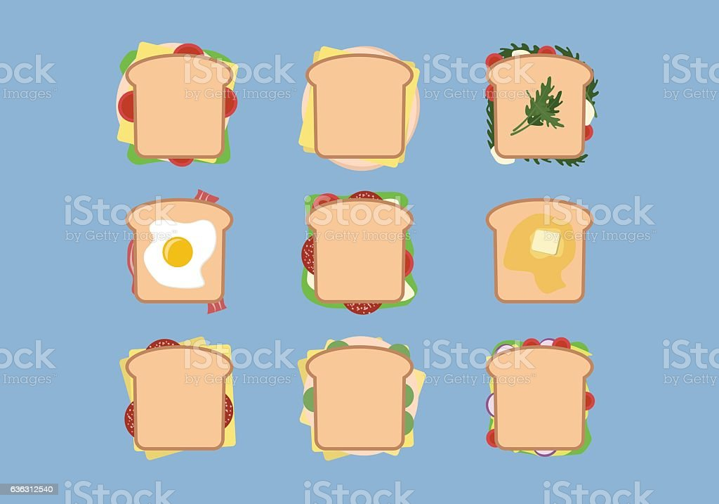 Set of nine sandwiches with different ingredients vector art illustration