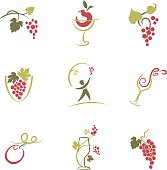 Sketchy Wine Icons Illustration. Set of Nine Sketchy Grapevine and Wine Elements vector Illustration icons.  The wine design elements are done in red,green and olive. Elements include: grape vines,grape bunches, apple, wine glass, swirls and grape leaves.