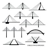 Set of nine stylized bridges.
