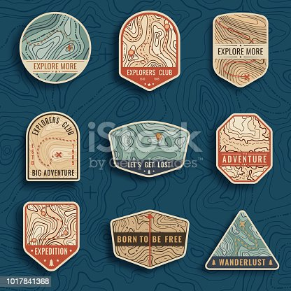 Set of nine topographic map travel vector emblems. Outdoor adventure emblems, badges and logo patches. Forest camp labels in vintage style. Map pattern with mountain texture and grid