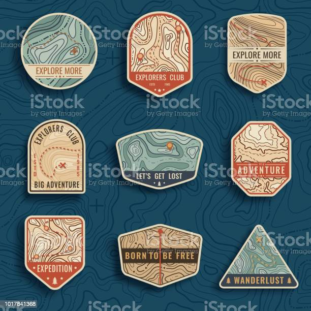 Set of nine topographic map travel emblems outdoor adventure emblems vector id1017841368?b=1&k=6&m=1017841368&s=612x612&h=in dur hdomgjqk7a ttyi5a muqsvajmjlkrze5dla=