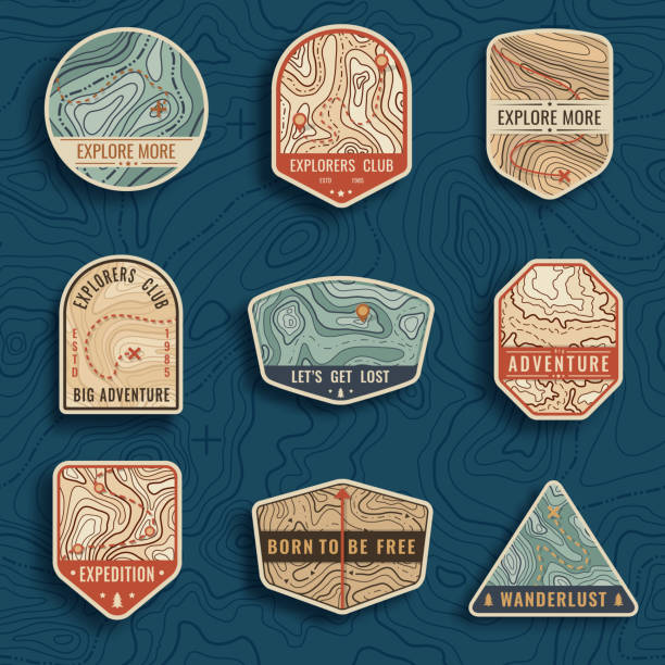 set of nine topographic map travel emblems. outdoor adventure emblems, badges and logo patches. forest camp labels in vintage style. map pattern with mountain texture and grid - vintage nature stock illustrations, clip art, cartoons, & icons