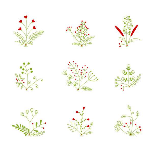 set of nine vector bouquets vector art illustration