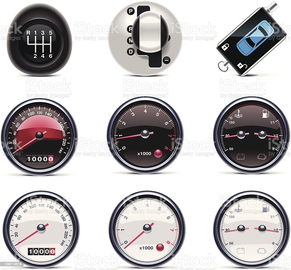 Set of nine vector car-themed icons over a white background vector art illustration