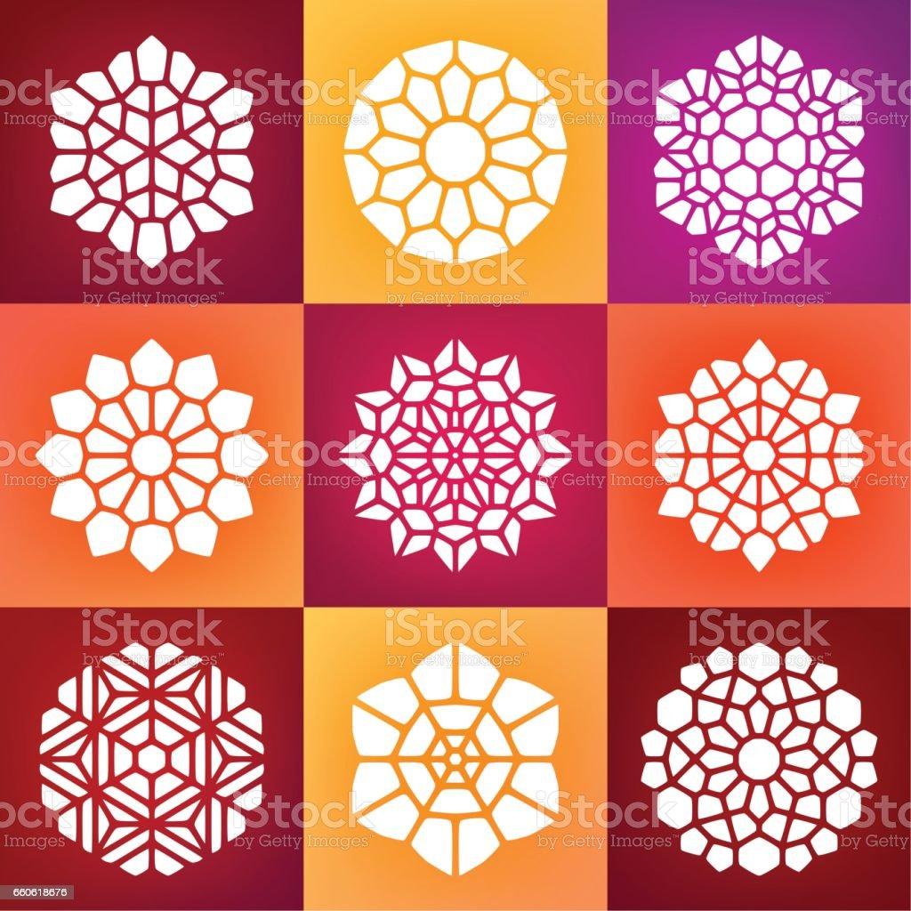 Set of Nine Vector Mandala Ornaments Illustration royalty-free set of nine vector mandala ornaments illustration stock vector art & more images of abstract