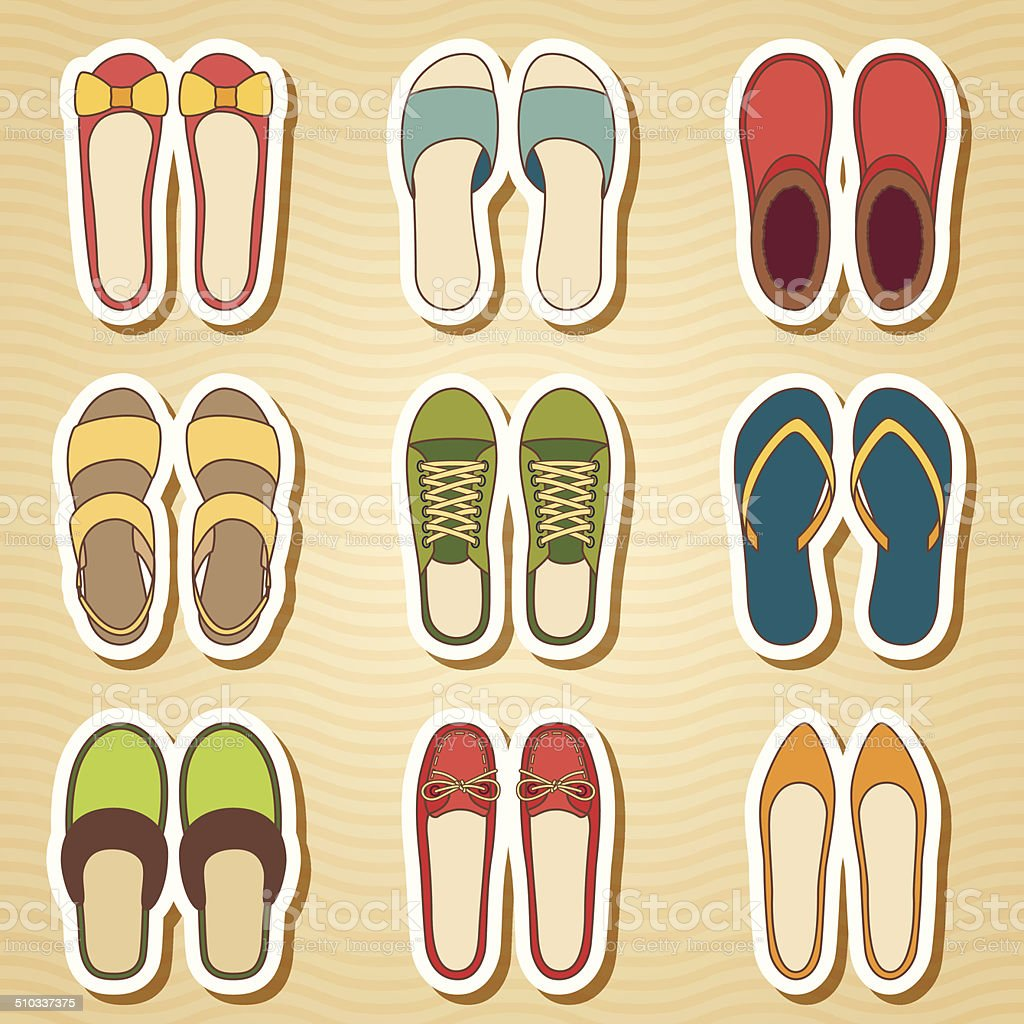 Set of nine woman shoes icon vector art illustration
