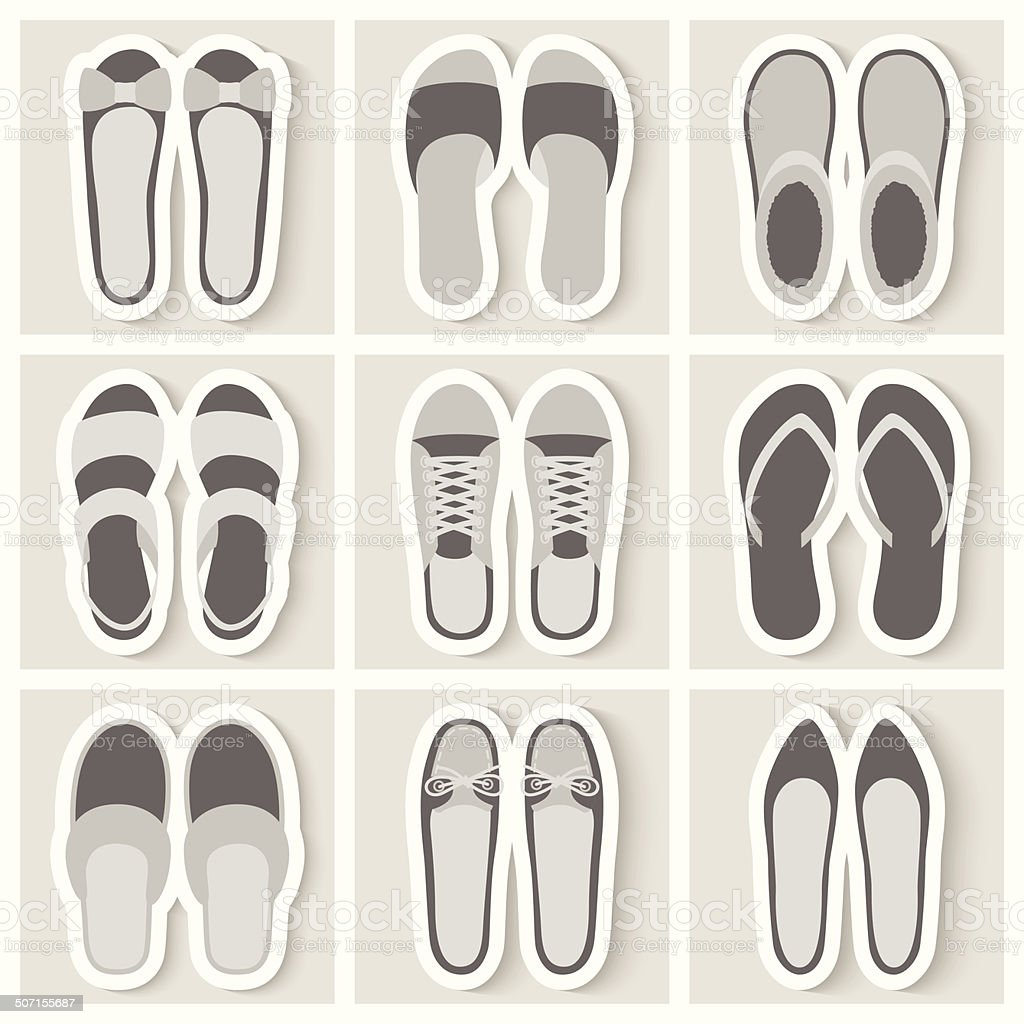 Set of nine woman shoes icons vector art illustration