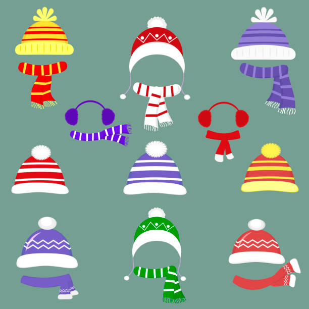 a set of nineteen different hats and scarves for boys and girls in cold weather or for sports. clothes for winter and autumn. flat style vector - futro tkanina stock illustrations
