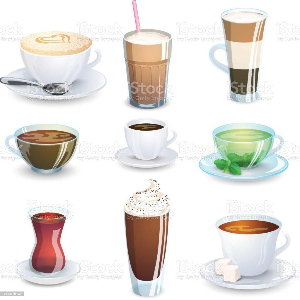 Set of non-alcoholic beverages - tea, herbal tea, hot chocolate, latte, mate, coffee. Vector illustration, isolated on white. vector art illustration