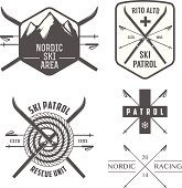 Set of nordic skiing and cross country labels and emblems.