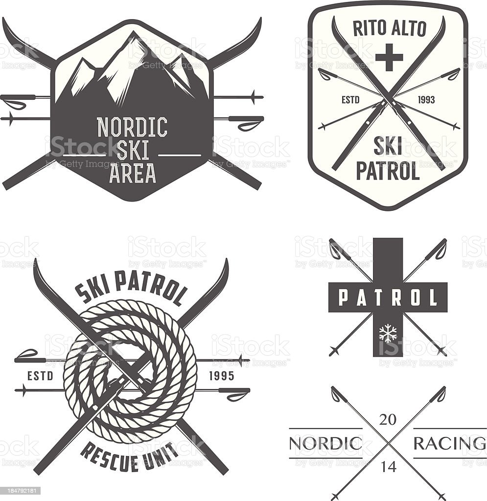 Set of nordic skiing and cross country labels vector art illustration
