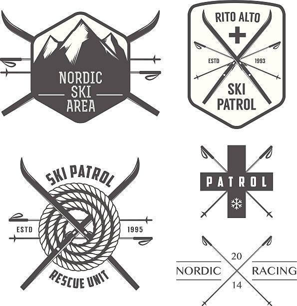 illustrazioni stock, clip art, cartoni animati e icone di tendenza di set di sci nordico e cross country etichette - ski