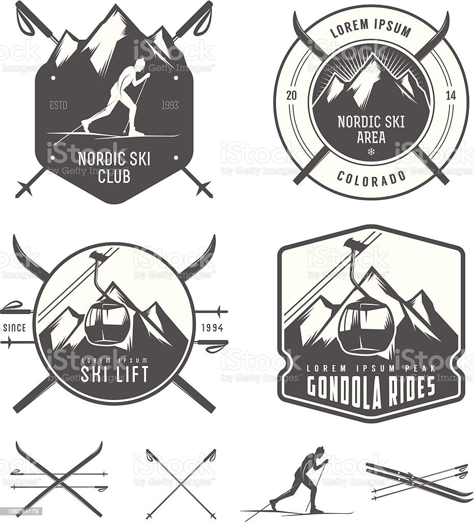 Set of nordic skiing design elements vector art illustration