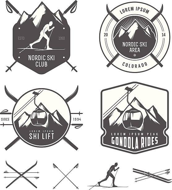 satz von nordischen skilauf design-elemente - skifahren stock-grafiken, -clipart, -cartoons und -symbole