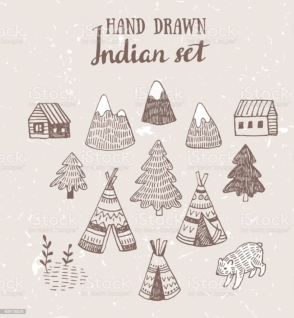 Human Hand Teepee Tent Wigwam Abstract. Set of North American Indian ...  sc 1 st  iStock & Set Of North American Indian Tipi Homes With Tribal Ornament Stock ...