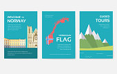 Set of Norway country ornament travel tour concept. Monument traditional, magazine, book, poster, abstract, element. Vector decorative ethnic greeting card or invitation design