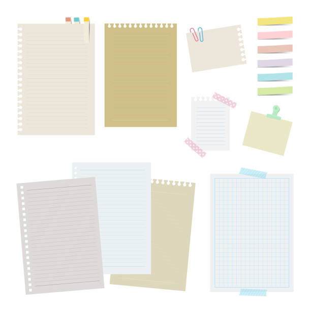 Set of note papers The file is vector eps 10 illustration. masking tape stock illustrations