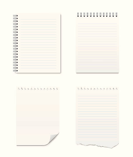 set of notepads and blank pages - lined paper stock illustrations