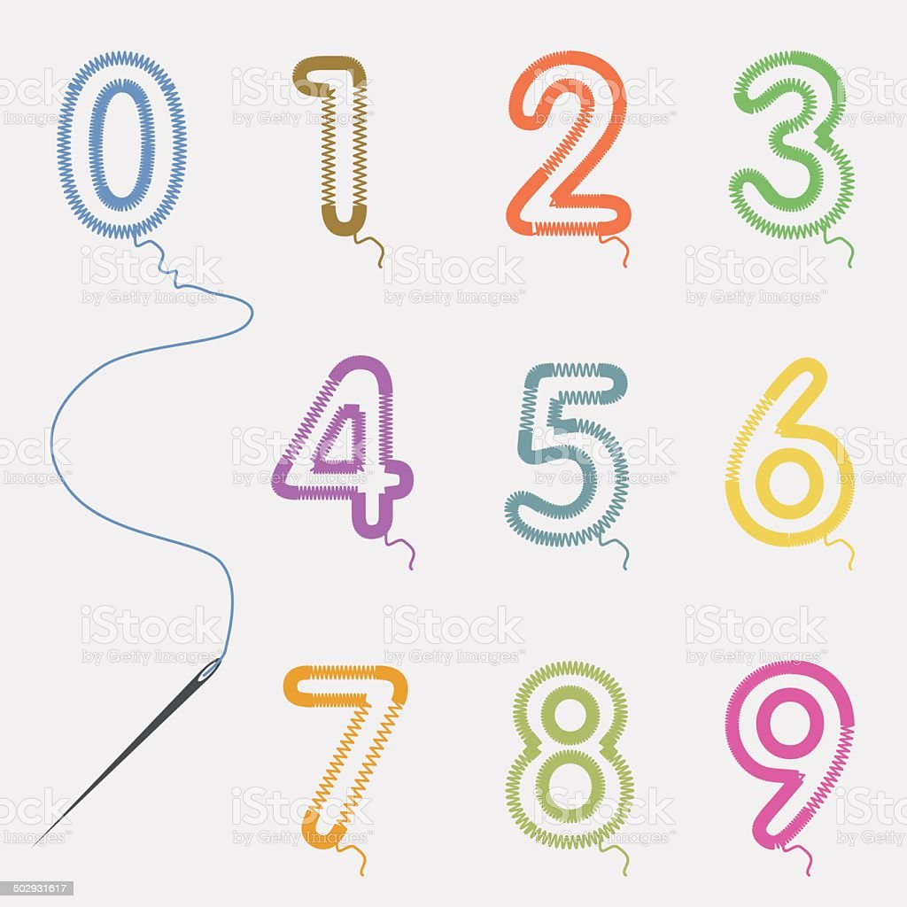 set of number from yarn with needle vector art illustration