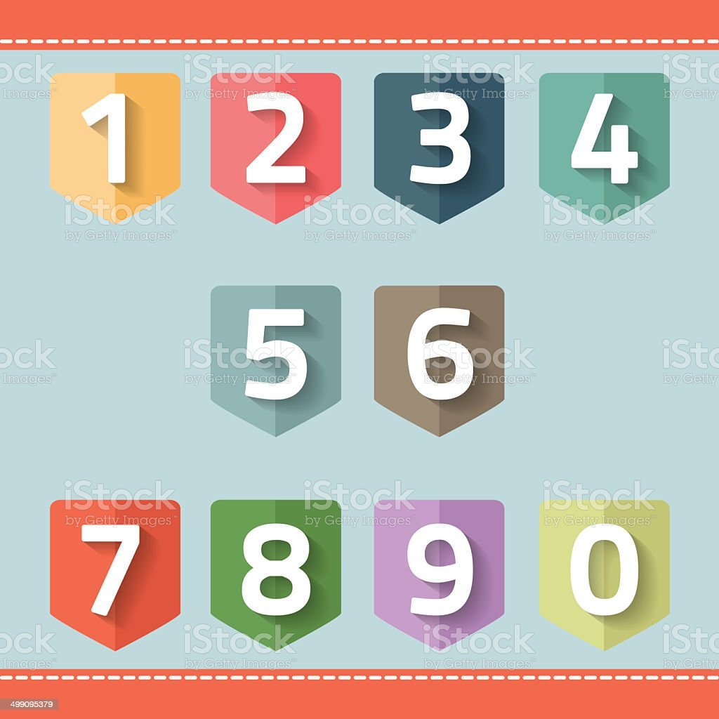 set of number on a flag vector art illustration