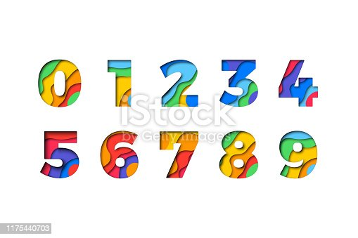 Set of numbers '1 2 3 4 5 6 7 8 9 0' filled with realistic multicolor paper cut layers for greeting cards, posters, invitations, brochures