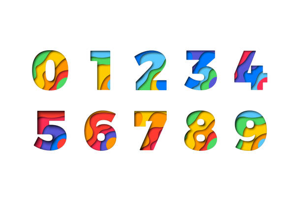Set of numbers '1 2 3 4 5 6 7 8 9 0' filled with realistic multicolor paper cut layers for greeting cards, posters, invitations, brochures Set of numbers '1 2 3 4 5 6 7 8 9 0' filled with realistic multicolor paper cut layers for greeting cards, posters, invitations, brochures number stock illustrations