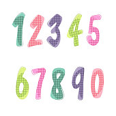 A set of numbers. Color numbers of cartoons. Vector set of 1-9-digit children's icons. Vector illustration