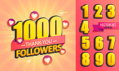 Set of numbers for Thanks followers design.Thank you followers congratulation card. Vector illustration for Social Networks. Web user or blogger celebrates and tweets a large number of subscribers.