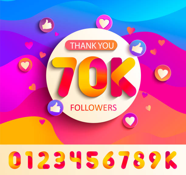Set of numbers for Thanks follower template design Set of numbers for Thanks followers template design.Thank you 70K followers congratulation card on wavy background with thumb up, hearts, likes.Vector for Social Networks,Web user,bloggers,subscribers auto post production filter stock illustrations