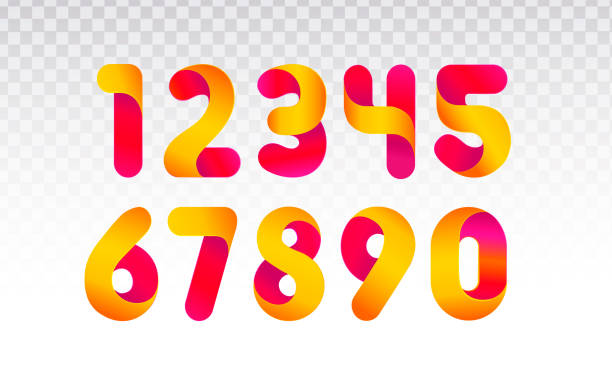Set of numbers from 0 till 9. Set of numbers from 0 till 9. Template for web design or greeting card. Vector collection for Social Networks, web user and bloggers celebrating posts and subscribes. number stock illustrations