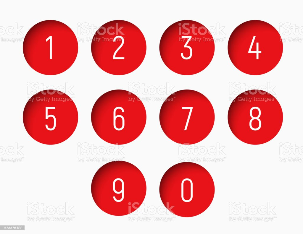 set of numbers from 0 to 9 with a round red shape set of numbers from 0 to 9 with a round red shape - arte vetorial de stock e mais imagens de apontar - sinal manual royalty-free