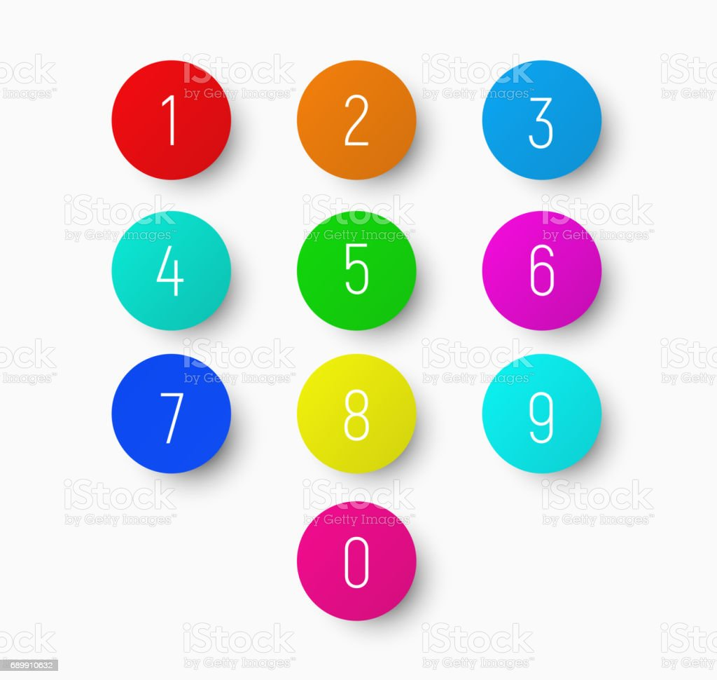 set of numbers from 1 to 9 on a round multicolored button with a shadow. vector art illustration