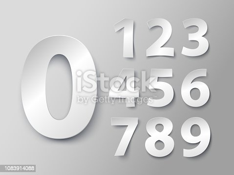 Set of numbers in paper style. Vector illustration with a realistic shadow