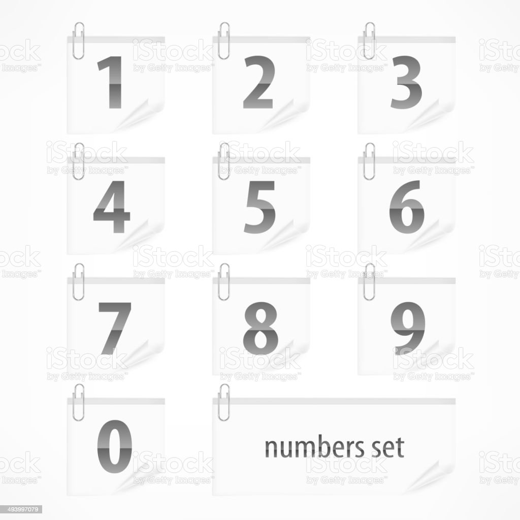 Set of numbers on paper stickers royalty-free set of numbers on paper stickers stock vector art & more images of button - sewing item